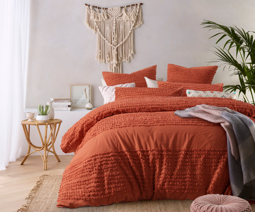 Rust Tufted Quilt Cover Set