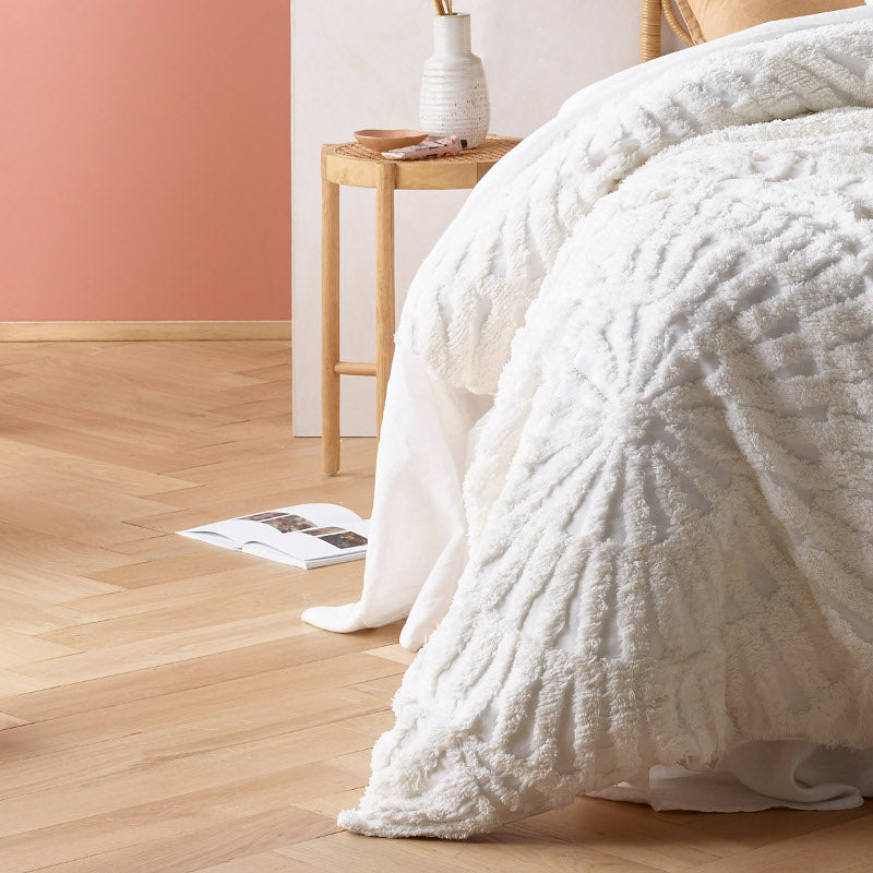 Cotton Chenille White Quilt Cover Set