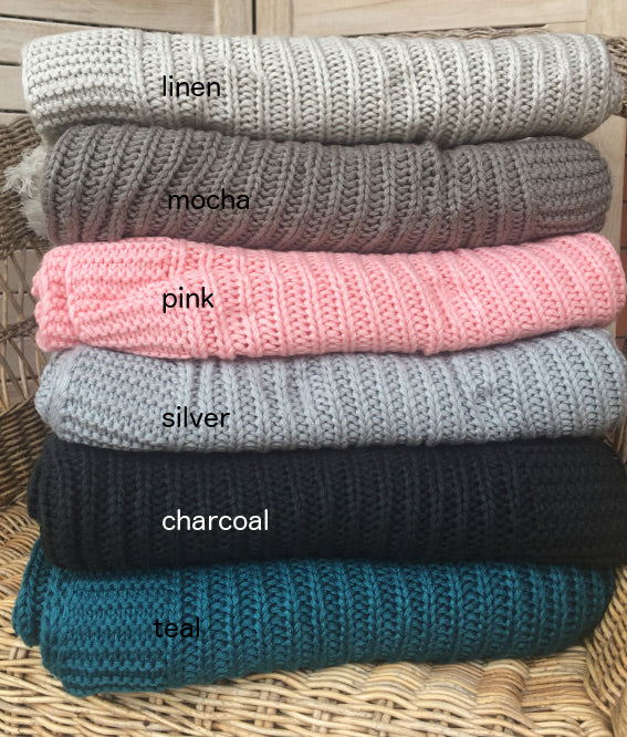 knitted blanket, pink, mocha, linen, silver, teal, charcoal