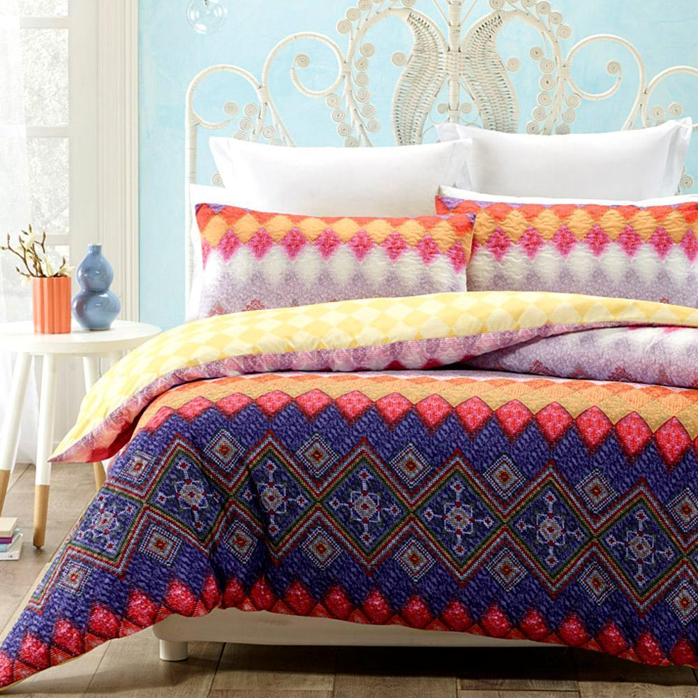 Quilted Effect Printed Yellow Blue Duvet Cover Set with 2 pillowcases