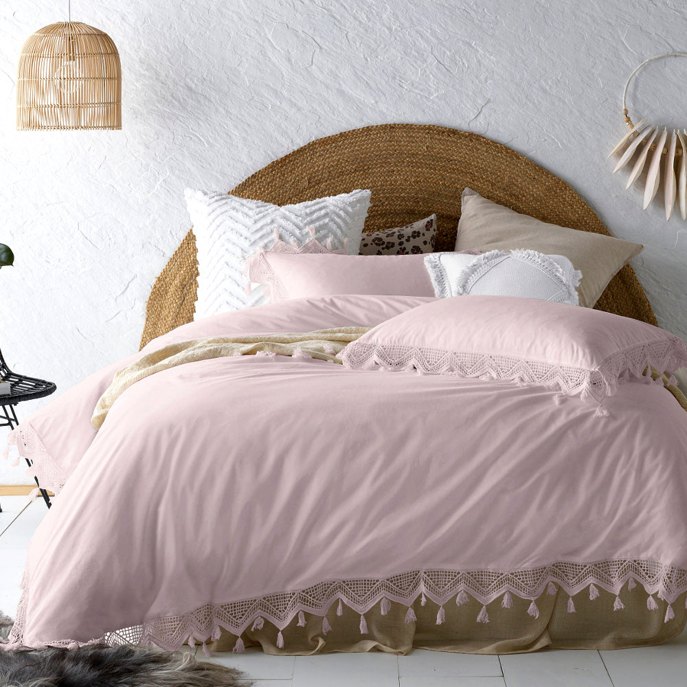 Gypsy Tassel Blush Quilt Cover Set