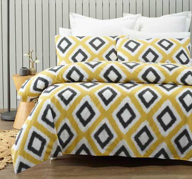 Yellow quilt cover set print