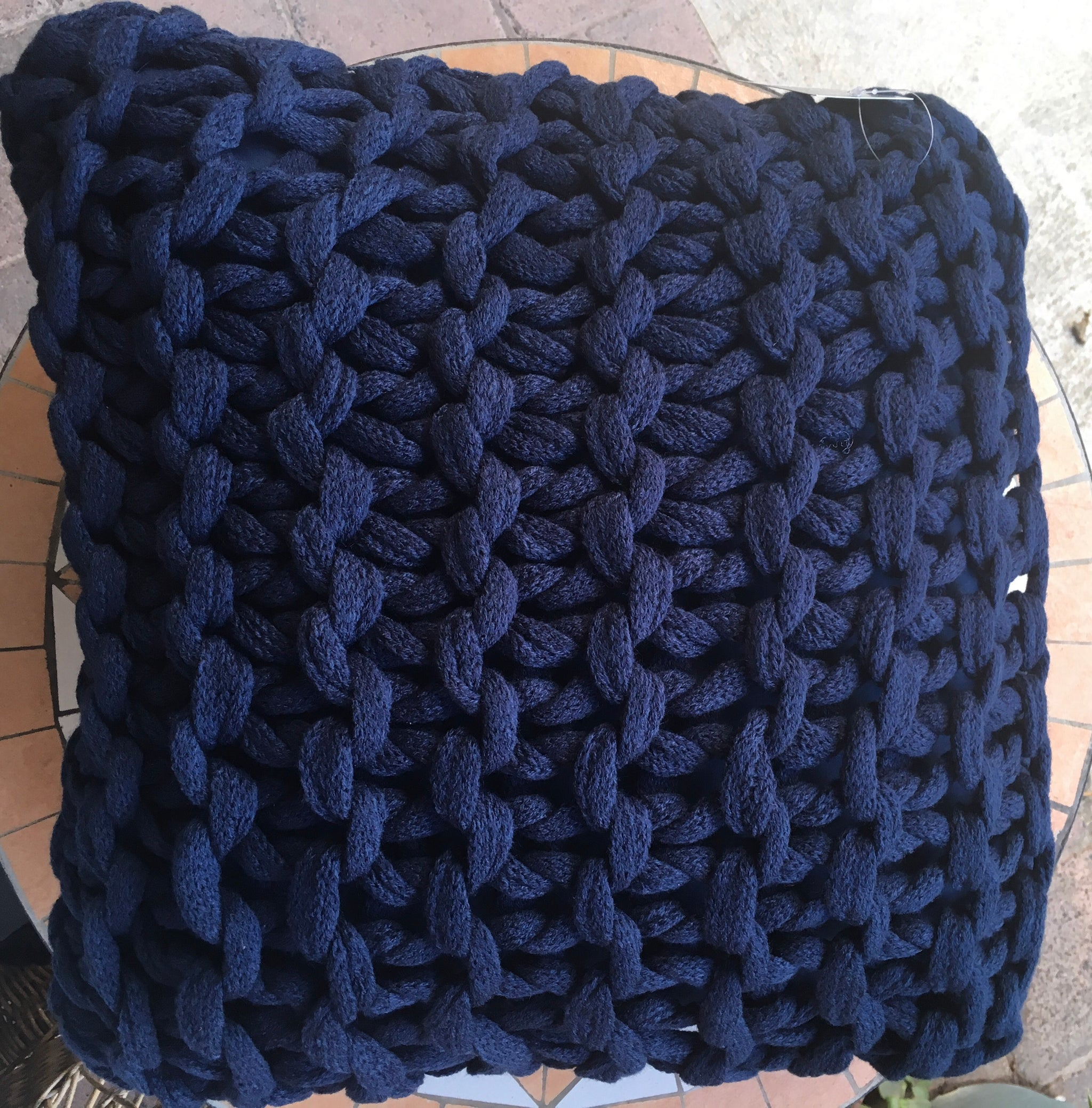 Meridian Chunky Texture Filled Cushion - Navy Blue