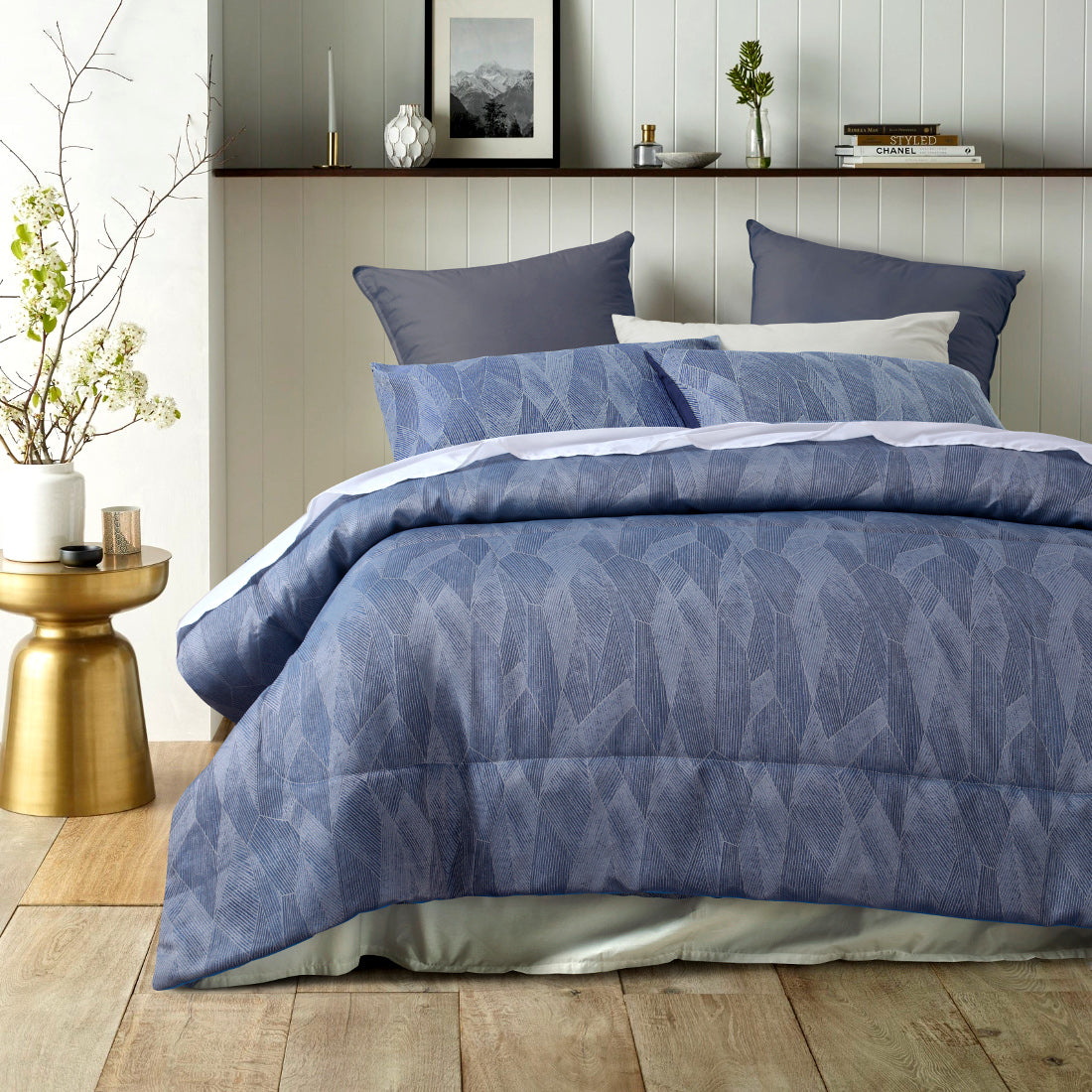 JAVA Blue Abstract Comforter Set - 3 piece