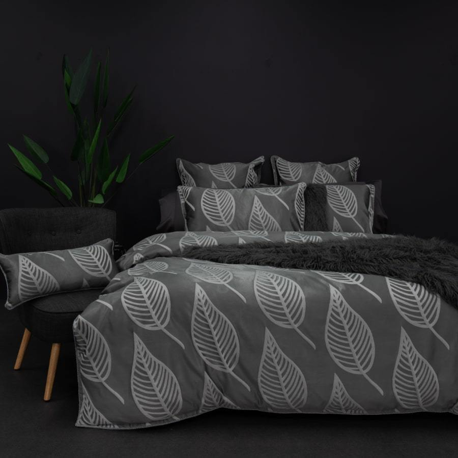 Jaxon charcoal quilt cover set. Luxury Jacquard duvet cover set.