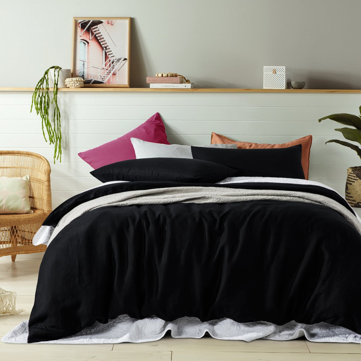 100% Linen black duvet cover set. Vinatge wash linen quilt cover set