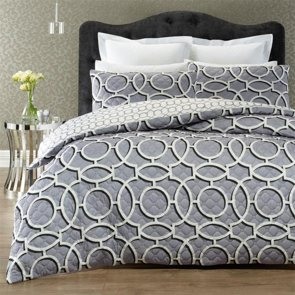 Grey quilted effect quilt cover set. Reversible duvet cover set.