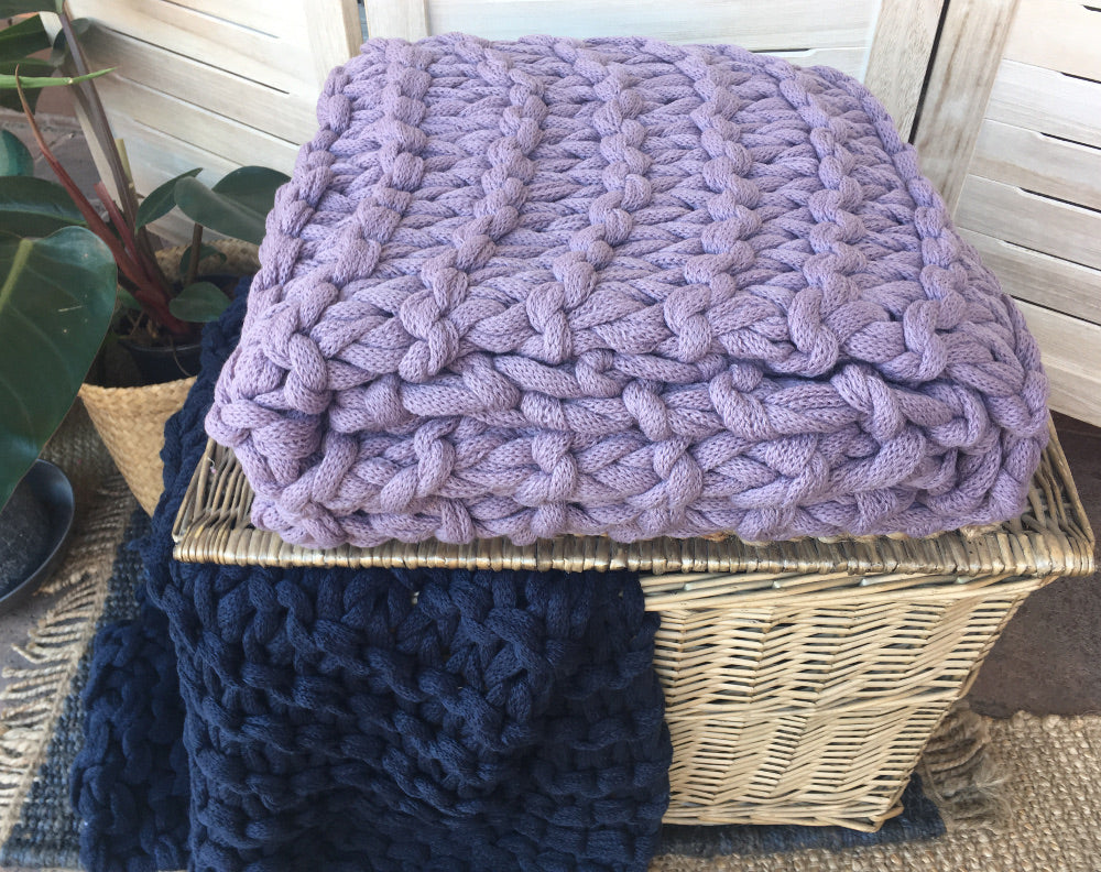 Chunky knitted throw Purple blanket