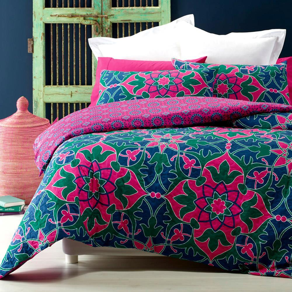 Quilted effect, modern duvet cover set in blue, green and pink print. Reversible.