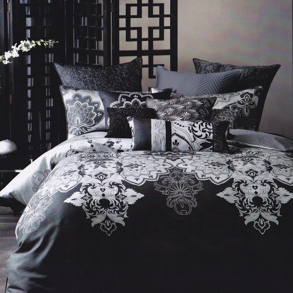 Linen House Jacquard Duvet cover set. Charcoal and grey quilt cover set.