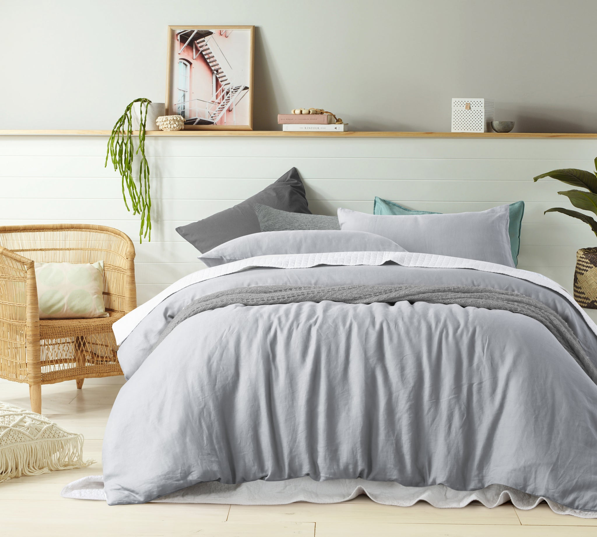 Dove Grey - 100% Pure Linen Quilt Cover Set