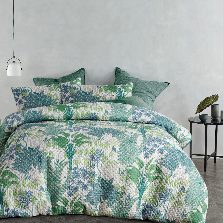 Rainforest Quilted Effect Quilt / Duvet Cover Set