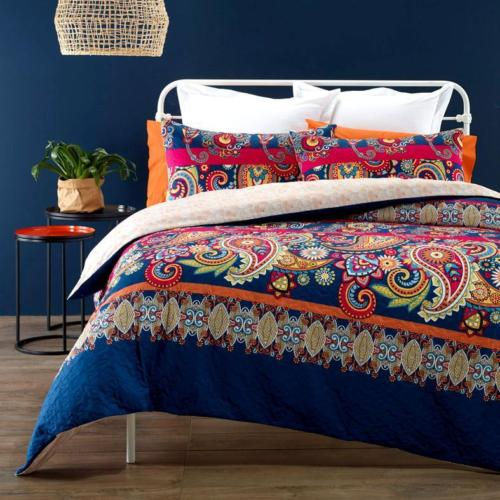 Quilted Effect Printed Blue Pink Duvet Cover Set with 2 pillowcases