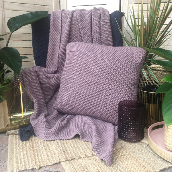 pewter mauve seed stitch chunky throw blanket