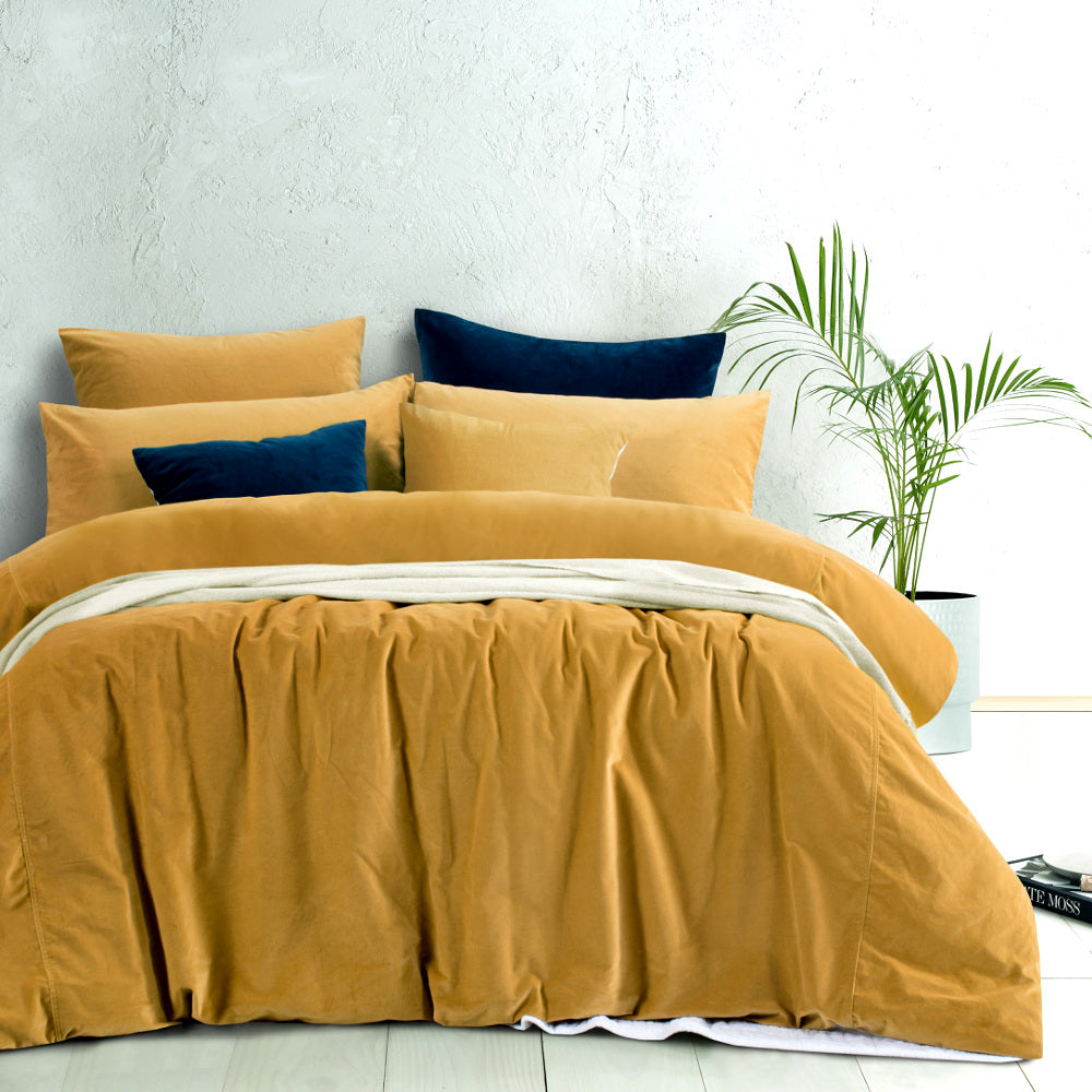 cotton velvet quilt cover set gold harmony mustard