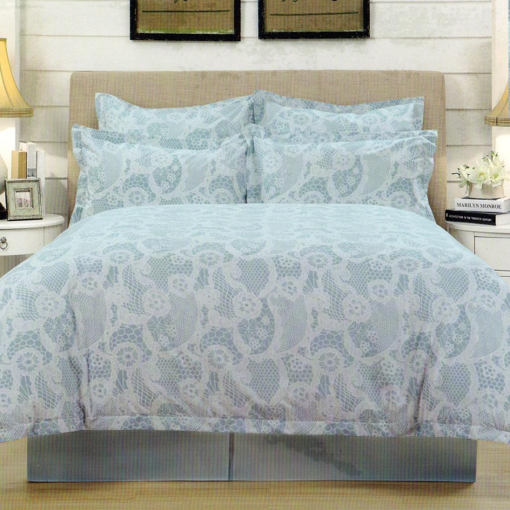 Yula White Aqua Quilt Cover Set