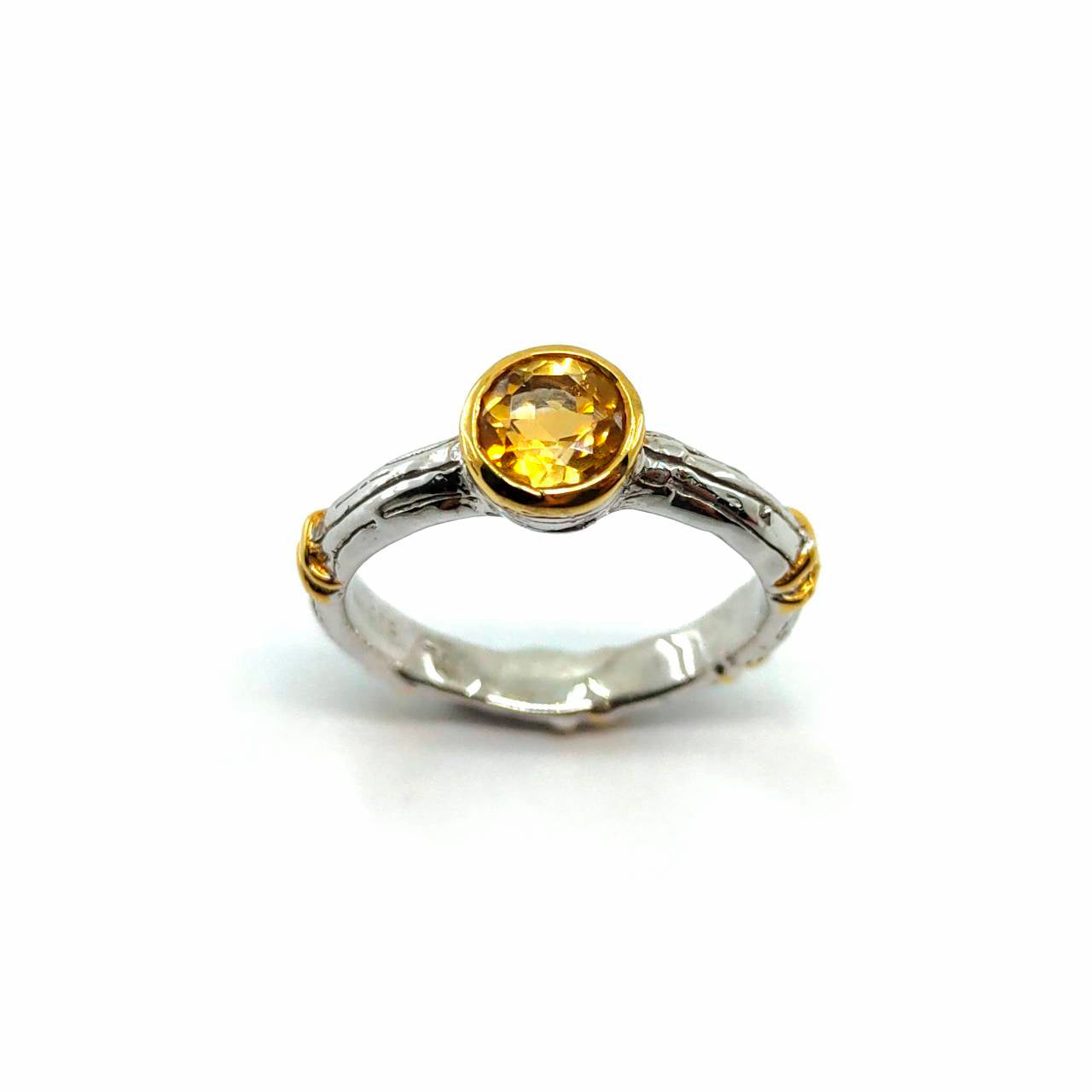 Alice - 925 Sterling Silver Ring, Decorated with Citrine, Plated with 3 Micron 22K Yellow Gold and White Rhodium