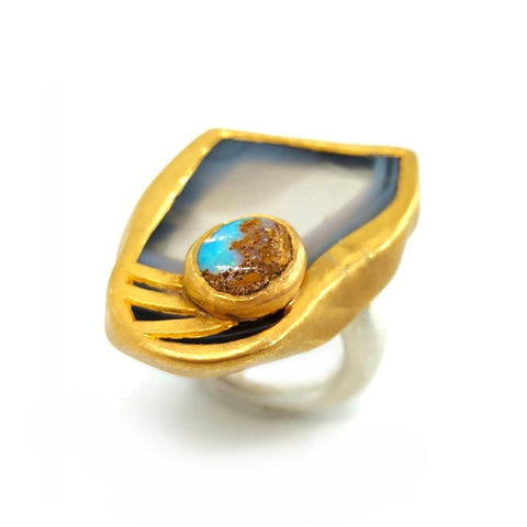 Electro Forming - 925 Sterling Silver Ring, Decorated with Jasper and Bolder Opal, Plated with 3 Micron 22K Yellow Gold and Silver