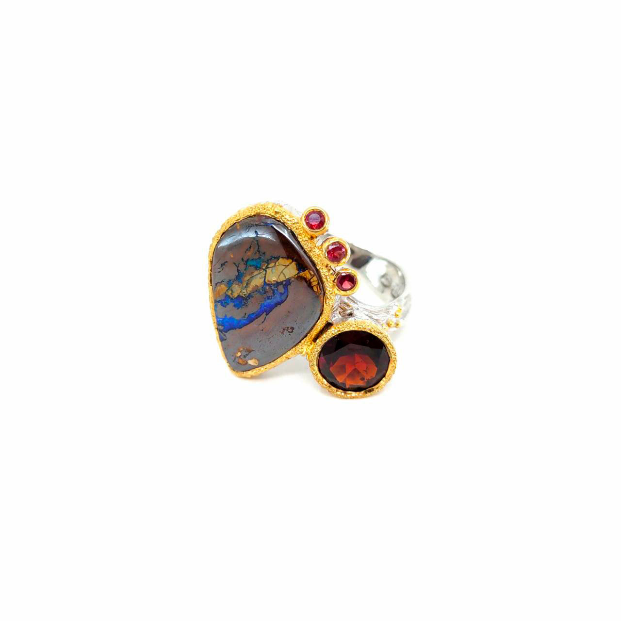 One Of A Kind Boulder Opal Garnet And Red Sapphire Ring