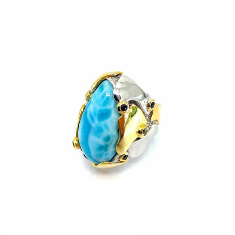One Of A Kind Larimar Blue Topaz And Blue Sapphire Ring