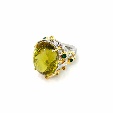 One Of A Kind Green Amethyst Emerald And Peridot Ring