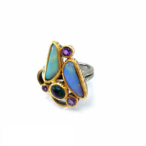 One Of A Kind Boulder Opal And Amethyst Ring