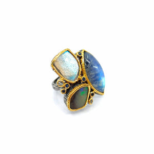 One Of A Kind Spectrolite Boulder Opal Labradorite Blue Topaz And Blue Sapphire Ring