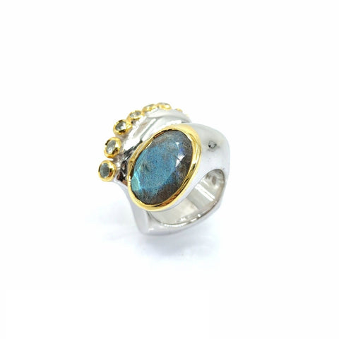 One Of A Kind Labradorite Blue Topaz And Blue Sapphire Ring