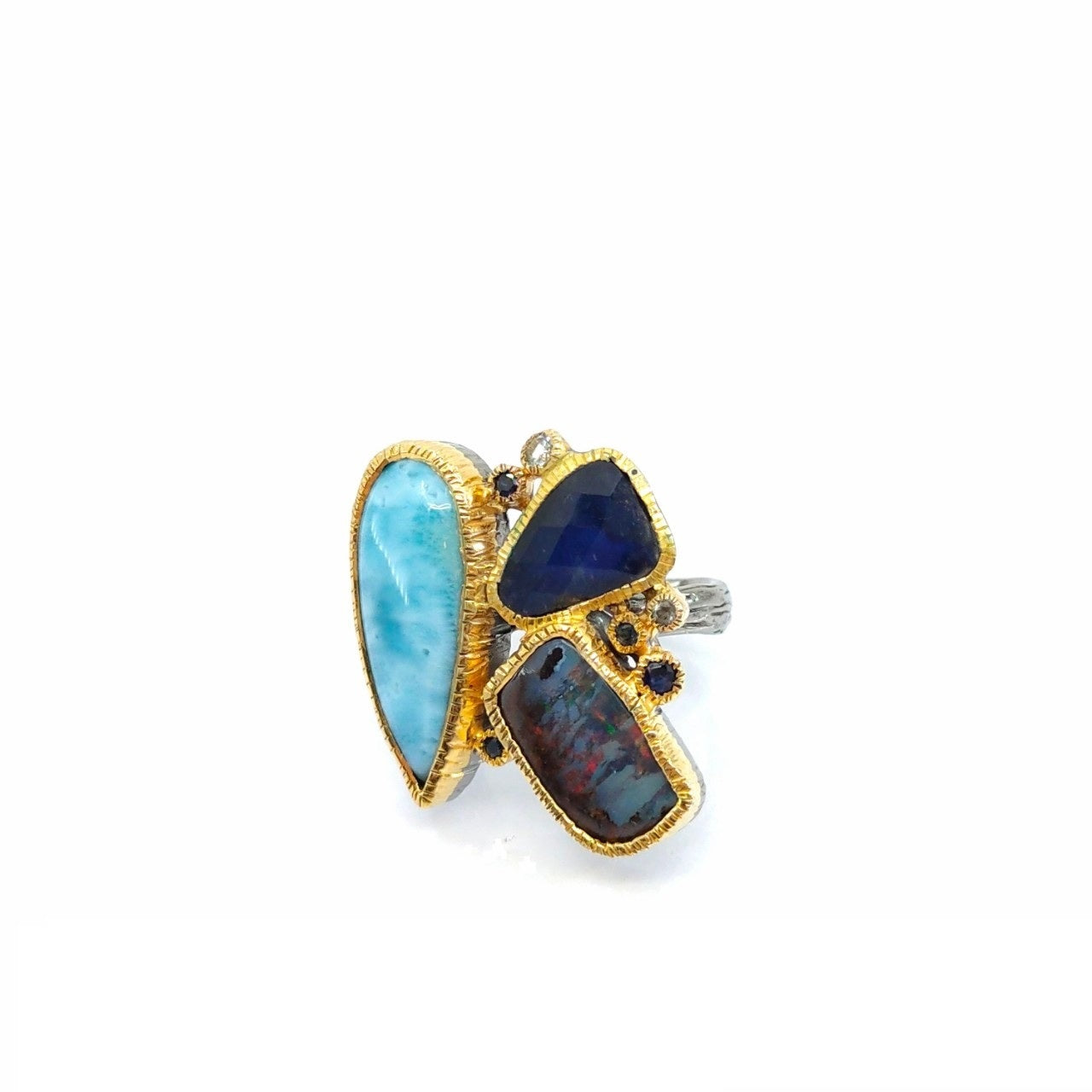 One Of A Kind Larimar Spectrolite Boulder Opal Blue Topaz And Blue Sapphire Ring