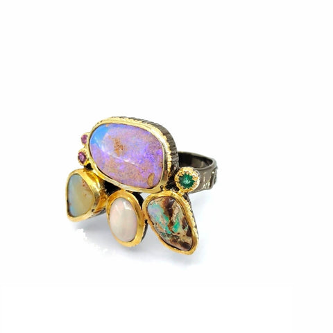 One Of A Kind Boulder Opal Ethiopian Opal And Rhodolite Ring
