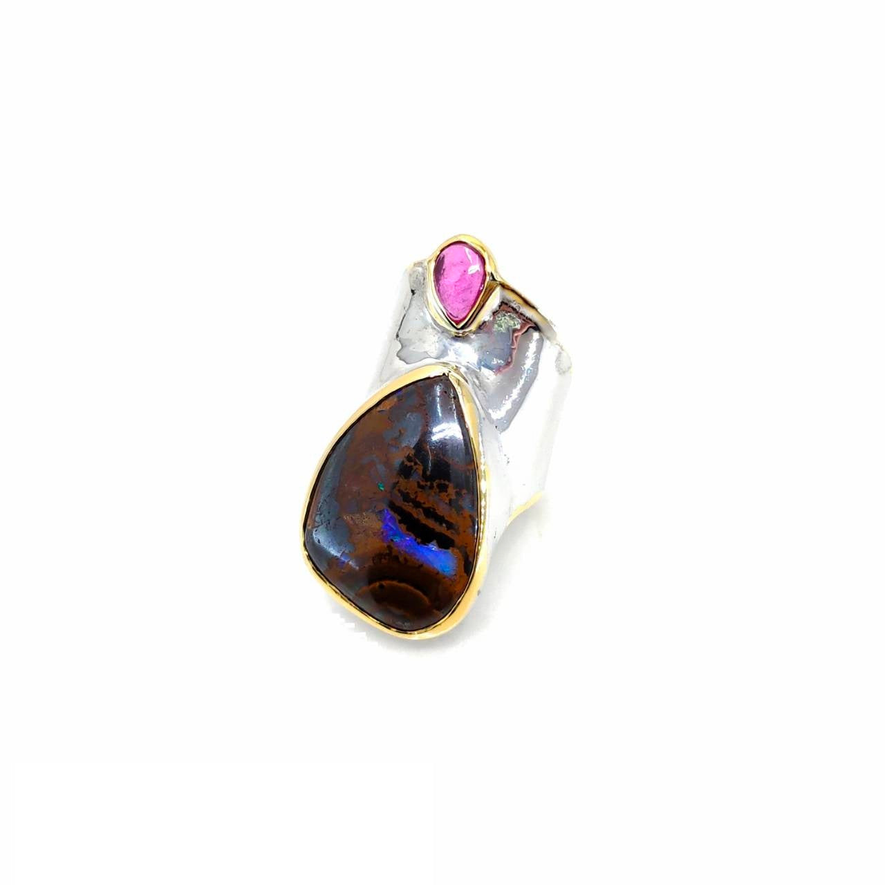 One Of A Kind Boulder Opal And Ruby Ring