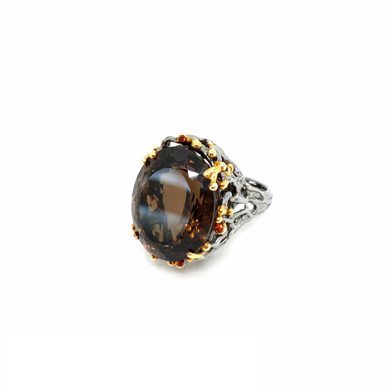 One Of A Kind Smoky Quartz And Orange Sapphire Ring