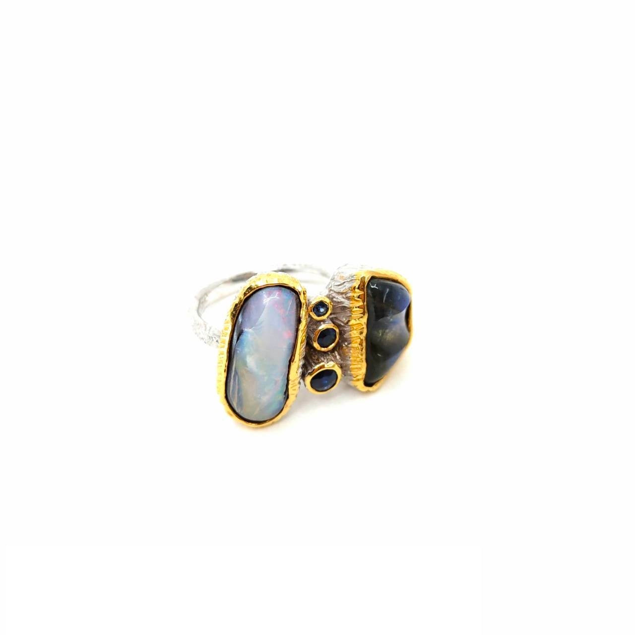 One Of A Kind Boulder Opal Carved Labradorite And Blue Sapphire Ring