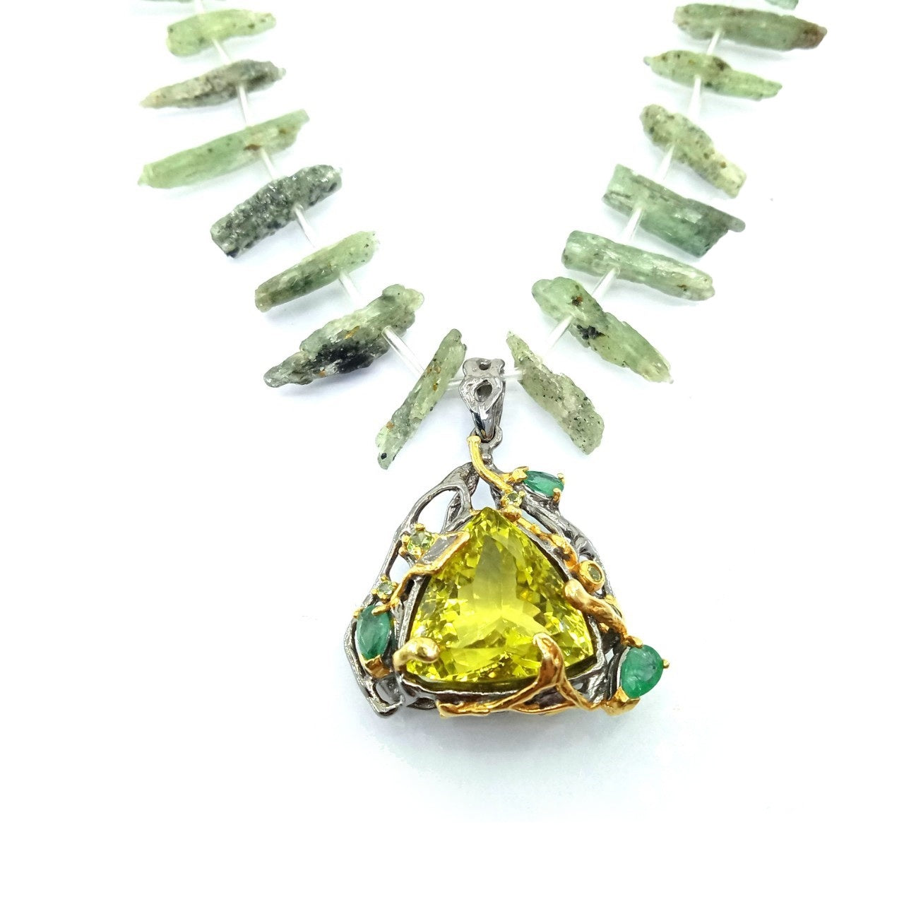 One Of A Kind Lemon Quartz Emerald Peridot And Prehnite Bead Necklaces
