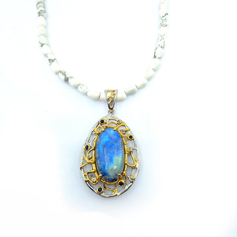 One Of A Kind Spectrolite Blue Topaz Blue Sapphire And Howlite Bead Necklaces