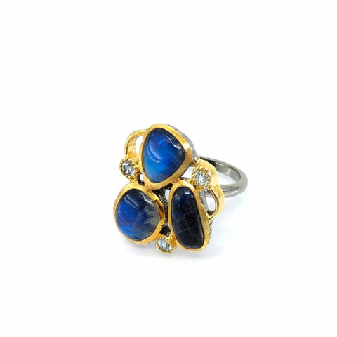One Of A Kind Spectrolite And Blue Topaz Ring
