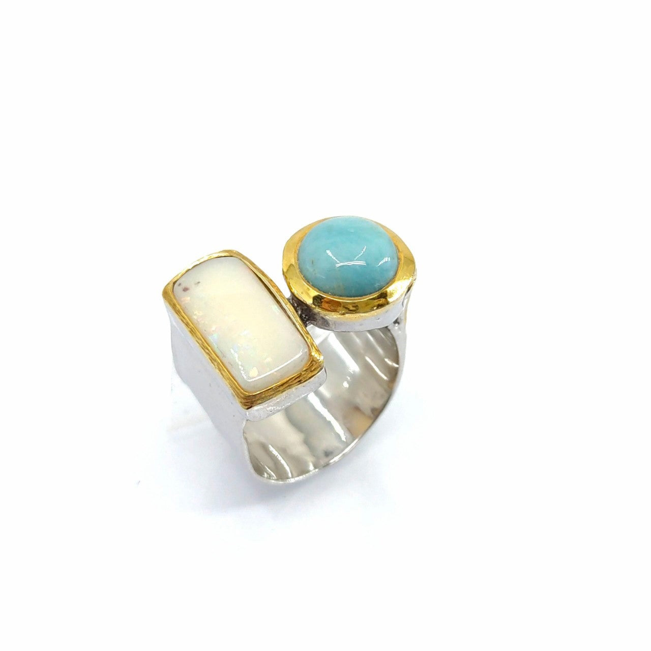 One Of A Kind Ethiopian Opal And Larimar Ring