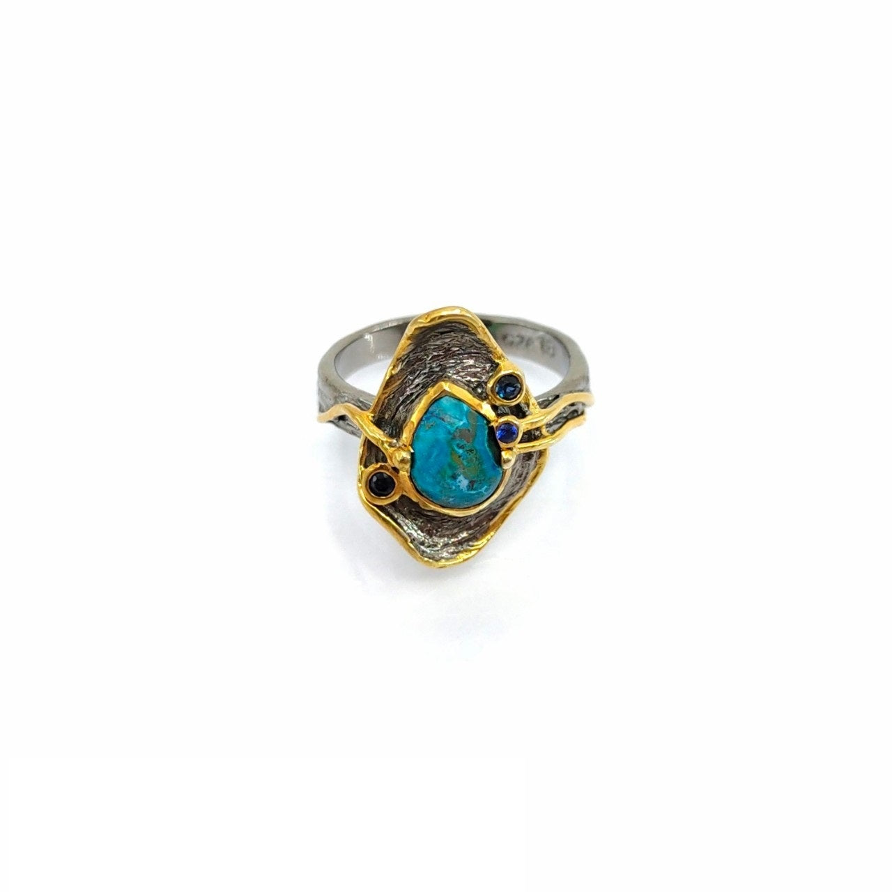 One Of A Kind Chrysacolla And Blue Sapphire Ring