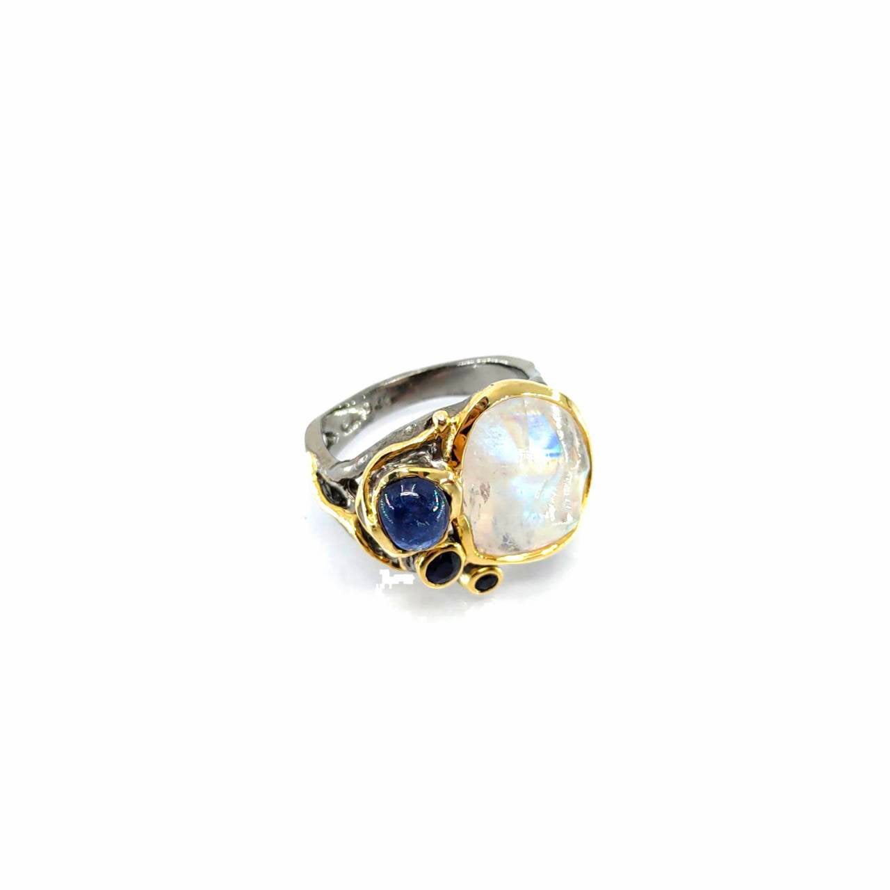 One Of A Kind Carved Spectrolite Blue Sapphire (Cab) And Blue Sapphire Ring