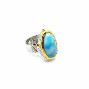 One Of A Kind Larimar And Blue Sapphire Ring