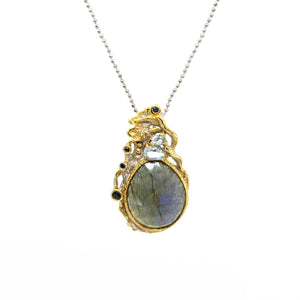 One Of A Kind Labradorite Blue Topaz Blue Sapphire And Silver Chain Necklaces