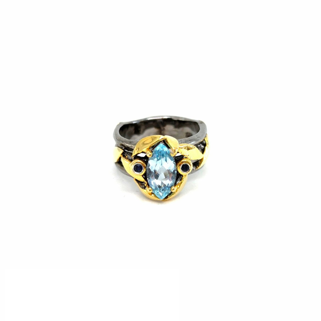 One Of A Kind Blue Topaz And Blue Sapphire Ring