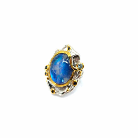 One Of A Kind Spectrolite Blue Topaz And Blue Sapphire Ring