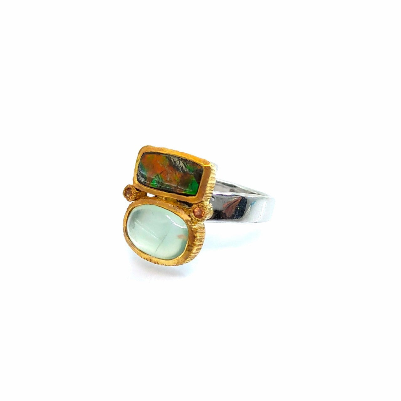 One Of A Kind Ammolite Prehnite And Yellow Sapphire Ring