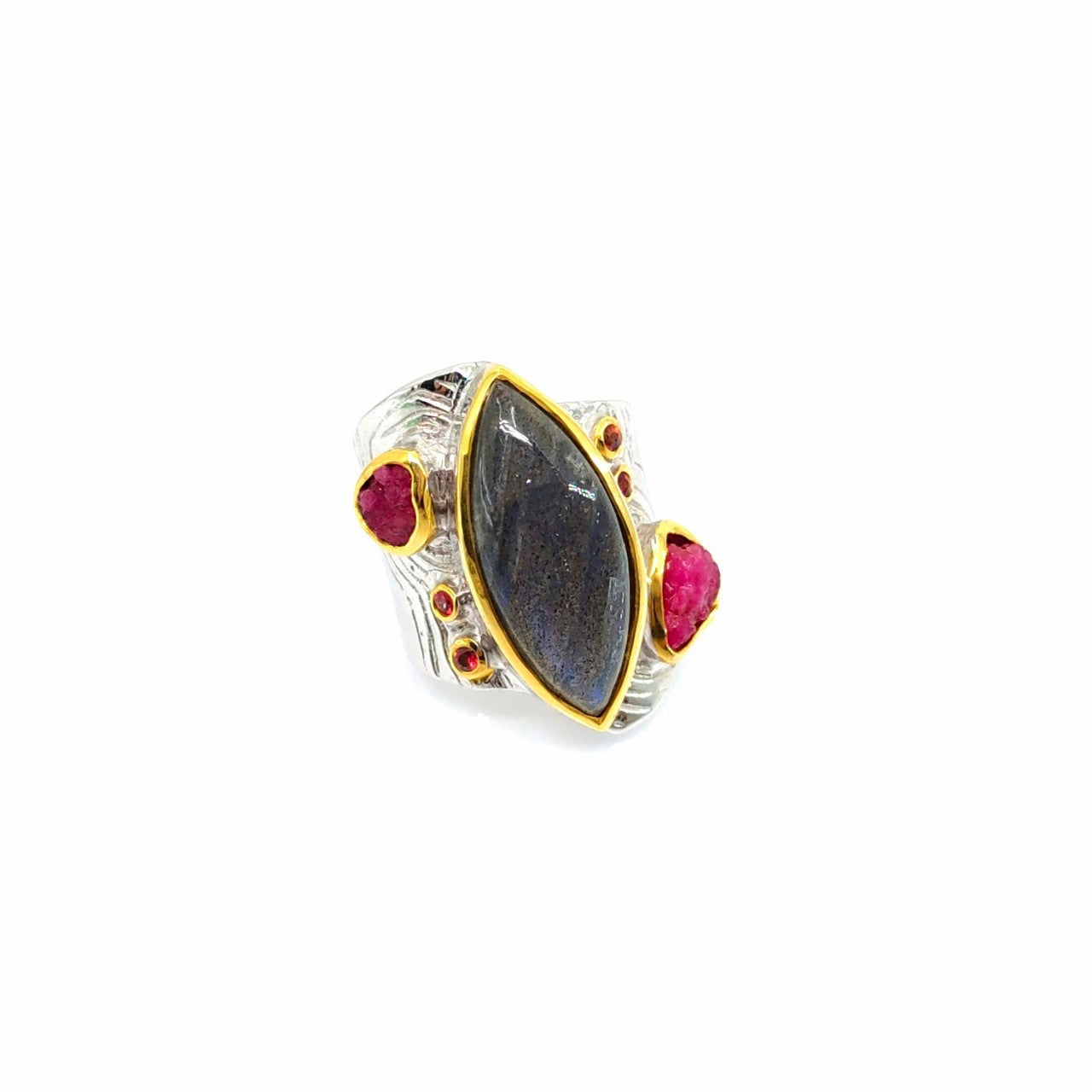 One Of A Kind Labradorite Rough Ruby And Orange Sapphire Ring