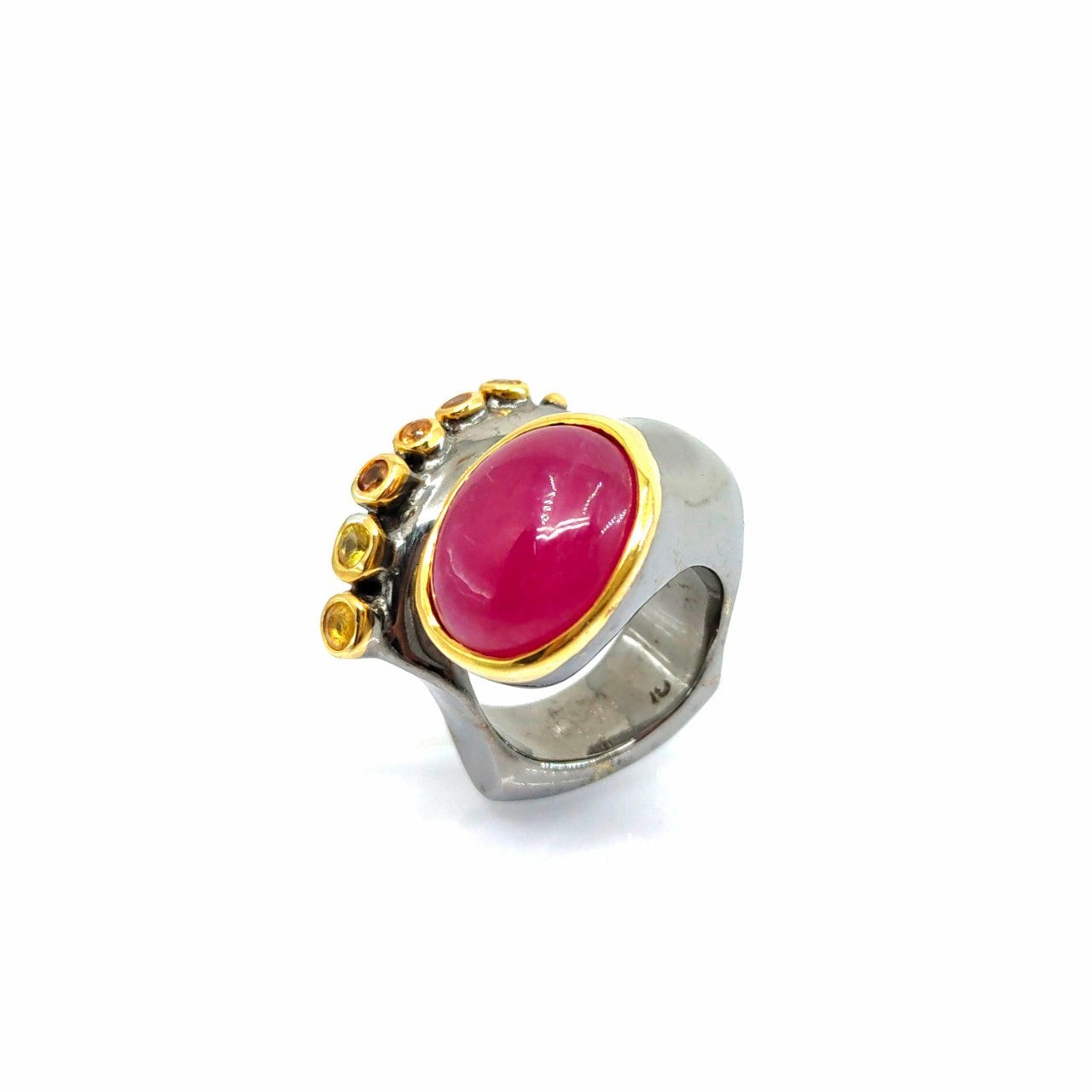 One Of A Kind Ruby Orange Sapphire And Yellow Sapphire Ring