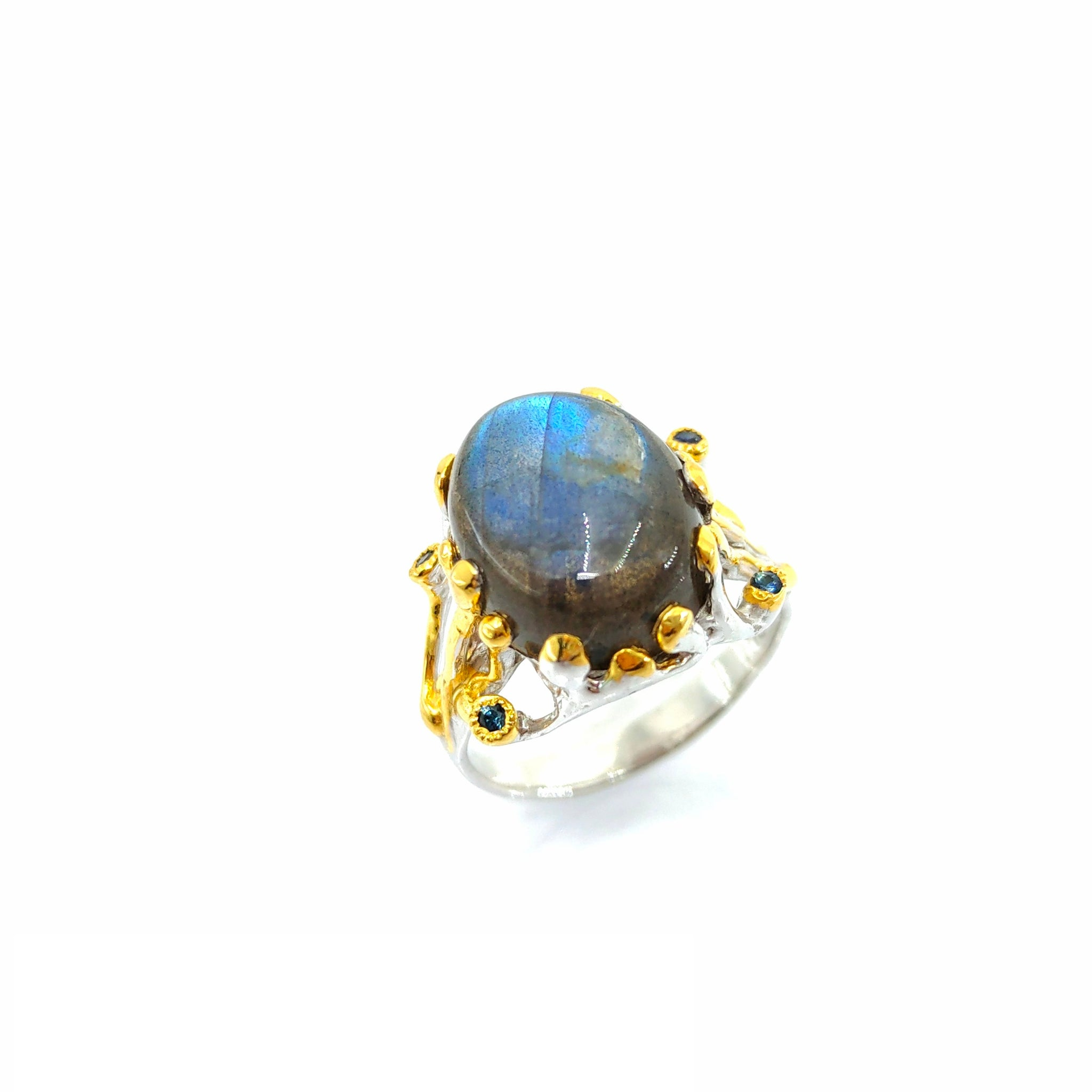 One Of A Kind Labradorite And Blue Sapphire Ring