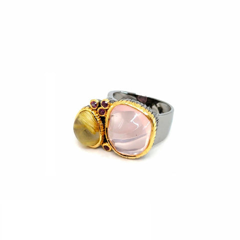One Of A Kind Carved Rose Quartz Rutied Quartz And Rhodolite Ring