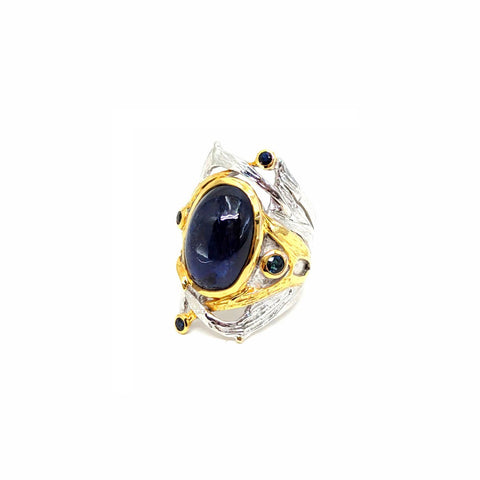 One Of A Kind Blue Sapphire (Cab) And Blue Sapphire Ring