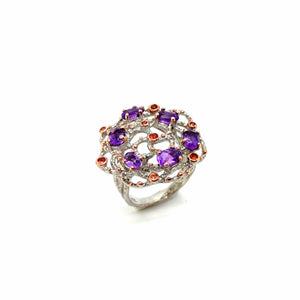 One Of Kind Amethyst And Orange Sapphire Ring